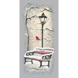 Předtištěná aida - Zimní lavička