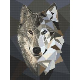 Vyšívací sada s mulinkou a podiskem - Vlk s mozaiky