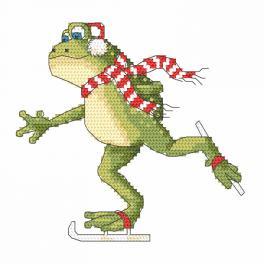 Vyšívací sada - Žába na bruslích