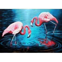 Diamond painting sada - Plameňáci na jezeře