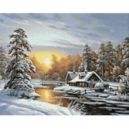 Diamond painting sada - Zimní východ slunce