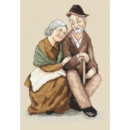 Vyšívací sada s mulinkou a podiskem - Babička a dědeček