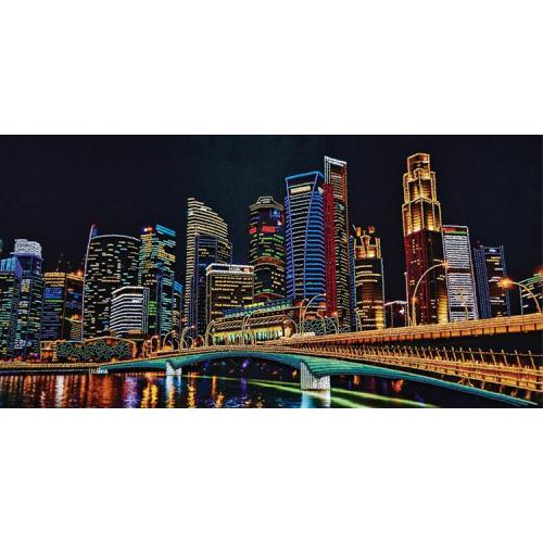 Vyšívací sada s korálký - Město v noci
