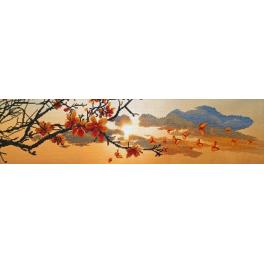 Vyšívací sada s mulinkou a pozadím - Jarní západ slunce
