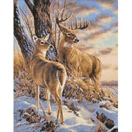 Diamond painting sada - Jeleni v zimě