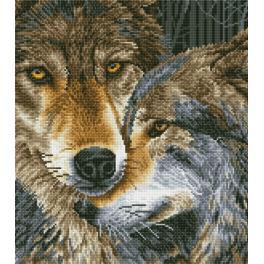Diamond painting sada - Tulící se vlci