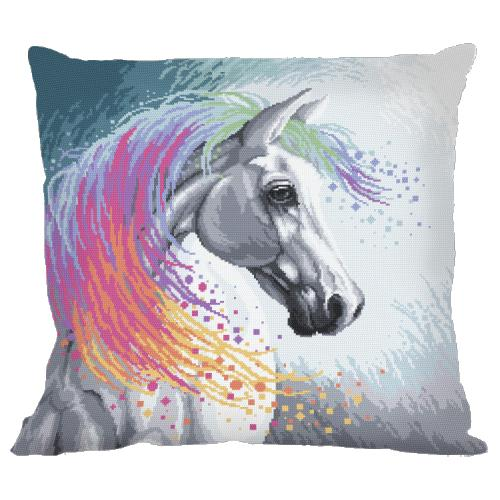 Vyšívací sada s povlakem na polštář - Polštář - Kouzelný kůň
