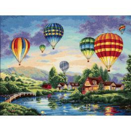 Vyšívací sada - Let balónem
