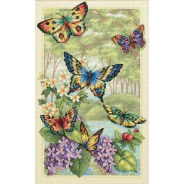 Vyšívací sada - Motýli mezi květy