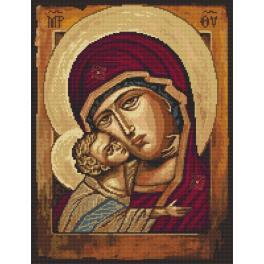 Vyšívací sada s mulinkou a podiskem - Ikona Matky Boží s dítětem