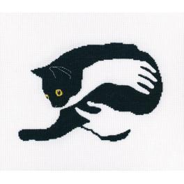 Vyšívací sada - Černá kočka na rukou