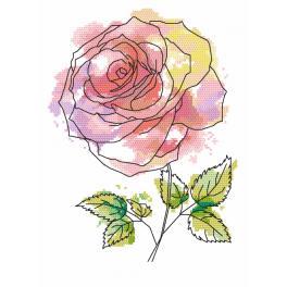 Vyšívací sada s mulinkou a podiskem - Nádherná růže