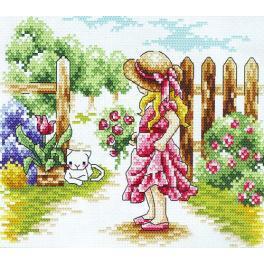 Vyšívací sada - Dívka u plotu