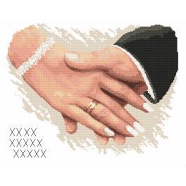 Vyšívací sada s mulinkou a podiskem - Památka na svatbu - Ruce