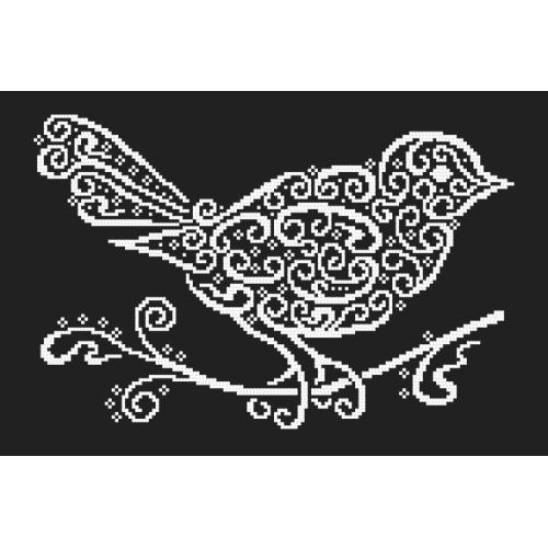 Vyšívací sada s korálky - Krajkový ptáček