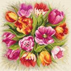 Vyšívací sada s mulinkou a podiskem - Okouzlující tulipány