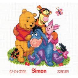 Vyšívací sada k narození - Medvídek Pú a přátele