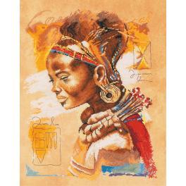 Vyšívací sada s mulinkou a pozadím - Africká žena