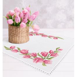 Vyšívací sada s mulinkou a ubrouskem - Ubrousek s tulipány