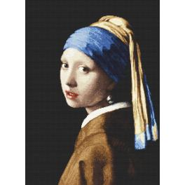 W 8974 Vzor na vyšívání v PDF - Dívka sperlou - J. Vermeer