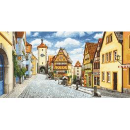 Vyšívací sada s mulinkou a podiskem - Malebný Rothenburg