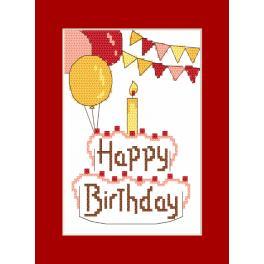 Vyšívací sada s mulinkou a přáníčkem - Přání - Happy Birthday