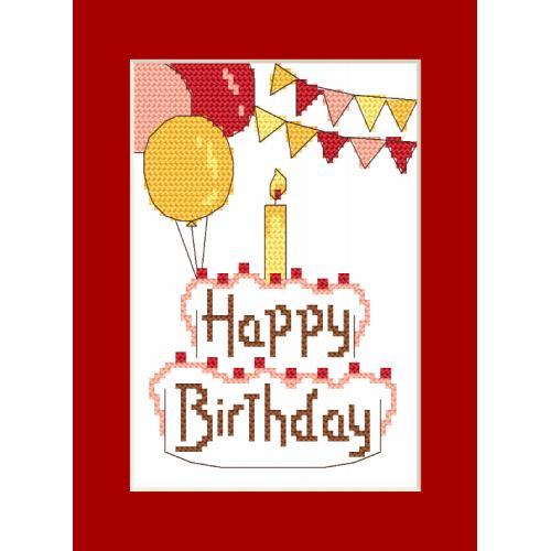 ZU 8973 Vyšívací sada s mulinkou a přáníčkem - Přání - Happy Birthday
