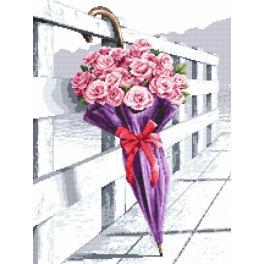 Vyšívací sada s mulinkou a podiskem - Deštník kvetoucích růží