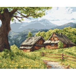 Vyšívací sada s mulinkou a podiskem - Horské chaty