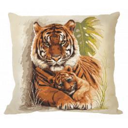 Vyšívací sada s povlakem na polštář - Polštář s tygry