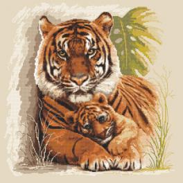 Vyšívací sada s mulinkou a podiskem - Tygřy