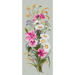 Vyšívací sada s mulinkou a potiskem - Kytice polních květů