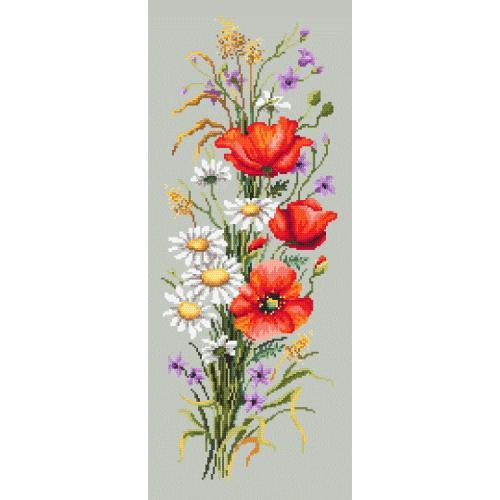 Vyšívací sada s s potiskem, mulinky a korálky - Polní květy