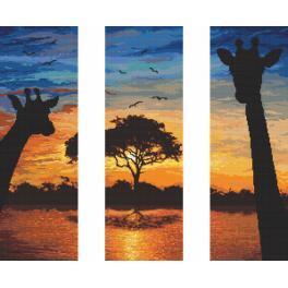 Vyšívací sada s mulinkou a podiskem - Síla Afriky - triptych