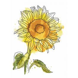 Vyšívací sada s mulinkou a podiskem - Nádherná slunečnice