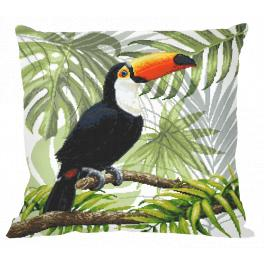 Předloha - Polštář - Tukan v tropech