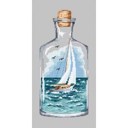 Předtištěná aida - Loďka v láhvi