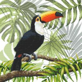 Vyšívací sada s mulinkou a podiskem - Tukan v tropech