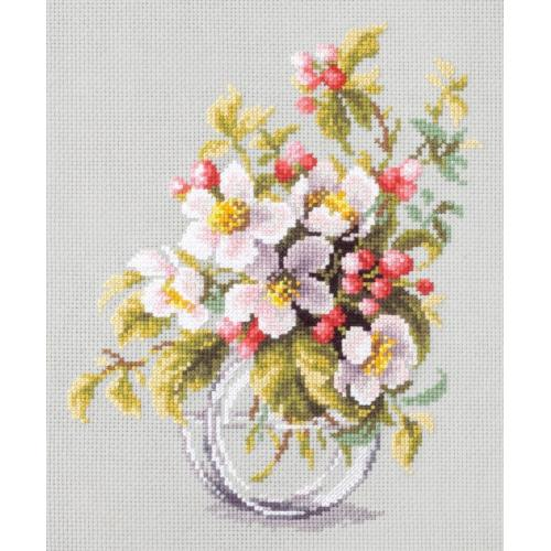 MN 100-011 Vyšívací sada - Větvička kvetoucí jabloně