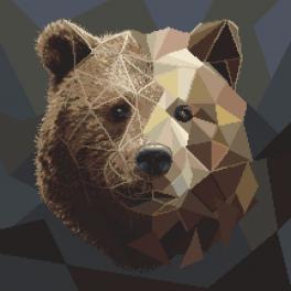 Vyšívací sada s mulinkou a podiskem - Medvěd z mozaiky