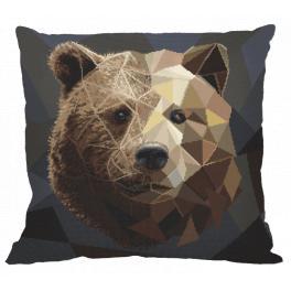 Vyšívací sada s povlakem na polštář - Polštář - Medvěd s mozaiky