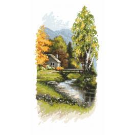 Vyšívací sada s mulinkou a podiskem - Oznamy podzimu