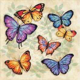 Vyšívací sada s mulinkou a pozadím - Barevní motýli