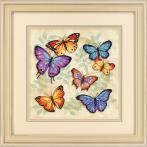 Vyšívací sada s mulinkou a pozadím - Barevní motýli - Křížková výšivka