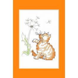 Vyšívací sada - Karta na přání - Kotě