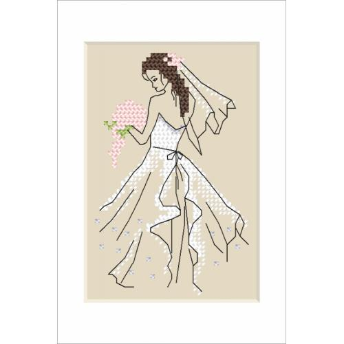 Vyšívací sada s mulinky a korálky - Svatební přaní - Nevěsta