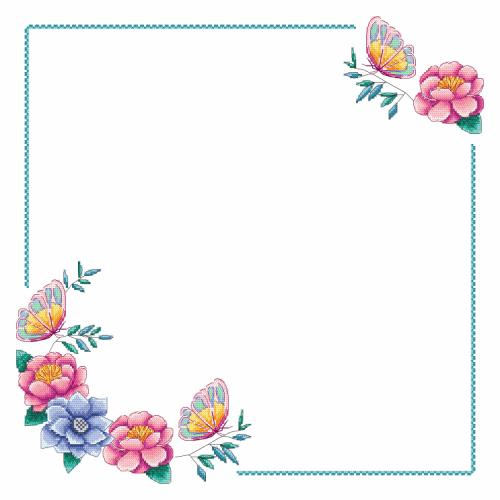 Předloha ONLINE - Ubrousek s květinami