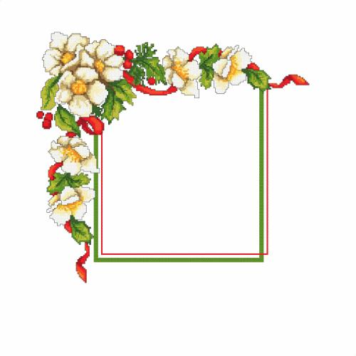 W 10195 Předloha ONLINE - Vánoční ubrousek s květinami