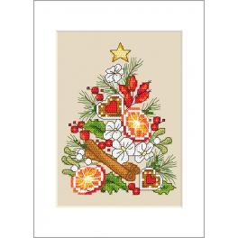 Vyšívací sada s mulinkou a přáníčkem - Přání - Vánoční stromeček