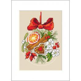 Vyšívací sada s mulinkou a přáníčkem - Přání - Vánoční koule